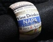 Bangle Bracelet - Wine - Decoupage - Cuff - Words - Wine related