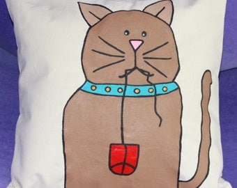 Mouser the Cat - 14x14 Hand Painted Pillow