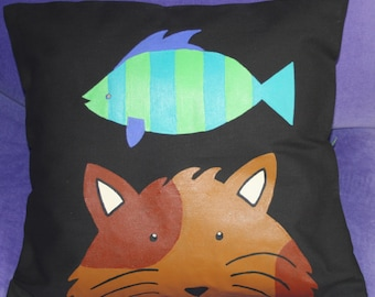 Pillow  Cat wirh Fish - Novelty Canvas Cotton  - Monk the Cat - 14x14 -  Hand Painted