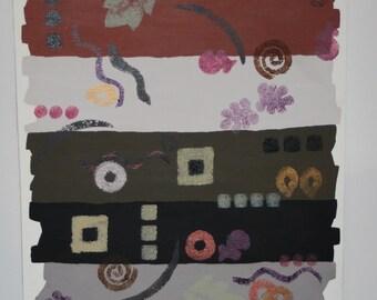 Abstract  Original Painting - 16 x 20 - Brown  - Black - Rust - Green - Cream