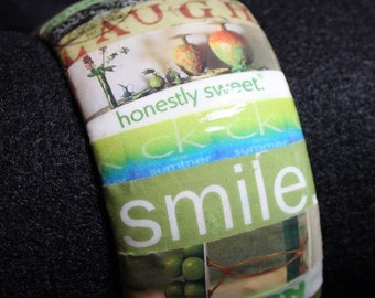 Lime Green - Bangle Bracelet  - Collage - Cuff - Decoupage - Wrapped - Words