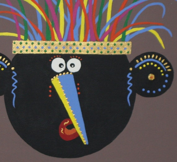Orginal Panting - SALE  !!! Reduced from 50 to 30 - Childrens Art  - Mondo - 11x14 - Brown - Blue - Black - Boy's or Girl's  Room
