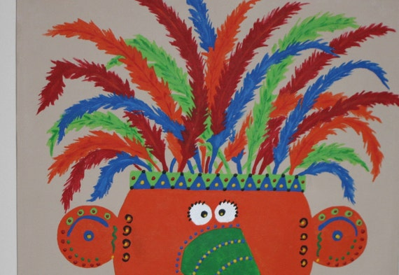 Original Painting - Sale Reduced from 50 TO 35  -  Feathers 12x12 - Hand Painted - Childrens Room