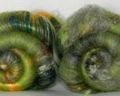 Green Pop Art batt set, textured - sw merino, silk noils, tencel, bamboo, lincoln locks, sari silk - 4.15oz