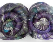 Purple Pop Art batt set, textured - sw merino, bamboo, silk noils, nylon, sari silk - 4.65oz
