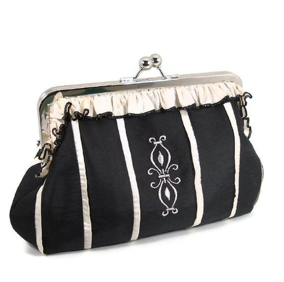 NIGHTS ON BROADWAY Embroidered Corset Style Clutch