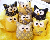 RESERVED for afran03...5 Darling Little Owl Ornaments .....In Yellow and Gray