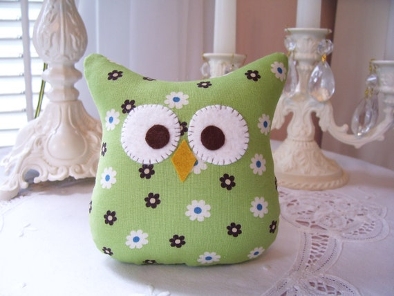 One 5 inch Stuffed Owl Pillow in Lime Green, Brown, and Blue
