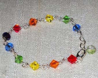 SALE   Rainbow Swarovski Crystal Bracelet/ Rainbow Bracelet / Crystal Bracelet / Crystal Bracelet / Silver Bracelet