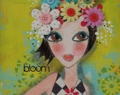 BLOOM  mixed media 5x7 art card PRINT