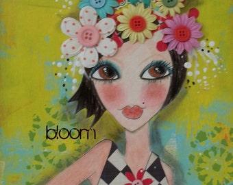 BLOOM  mixed media 5x7 art card PRINT