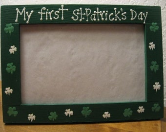 My first St Patricks Day - personalized baby wedding room decor photo picture frame