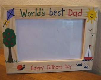 Father's Day photo frame WORLDS BEST DAD - Grandpa Fathers Day Daddy holiday gift photo picture frame