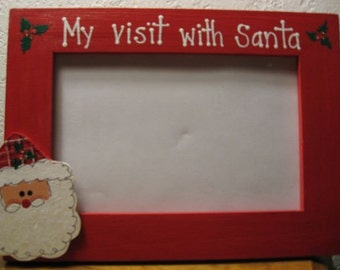 My Visit with Santa -Christmas frame handpainted personlized Christmas baby photo picture frame