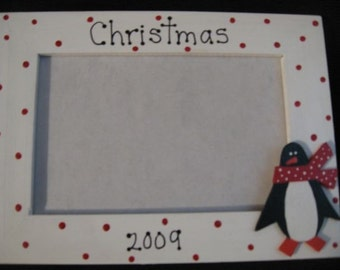 Christmas 2016 - Christmas frame family holiday handpainted penguin photo picture frame