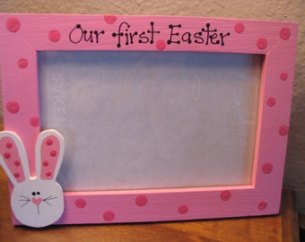 Our First Easter Frame - Custom Our 1st Easter Wedding Baby Twins photo picture frame