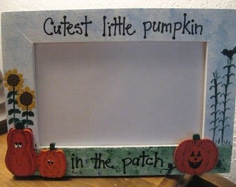 Cutest Little Pumpkin in the Patch - Halloween Fall personalized photo picture frame