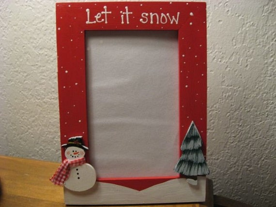 Let it snow - Christmas frame snowman Christmas holiday photo picture frame