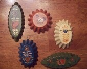 Set of Five Hand Painted Cookie Cutter Tin Ornaments