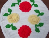 Vintage Floral Roses Crocheted Toilet, Stool Seat Cover-1960s