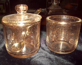 Vintage Gold Glittered Cream and Sugar Set