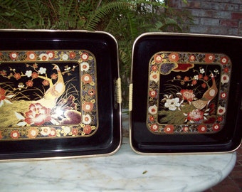 Vintage Pair of Black, Gold and Red Peacock Trays - Japan