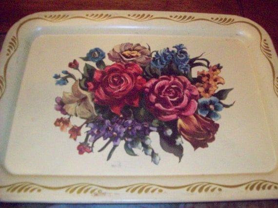 Set of Two Vintage Flower Metal Trays