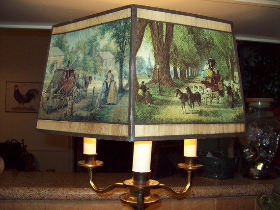 RESERVED for Ahmad-Vintage Brass Three Bulb Table Lamp with Hexagonal Shade Depicting Two Victorian Scenes