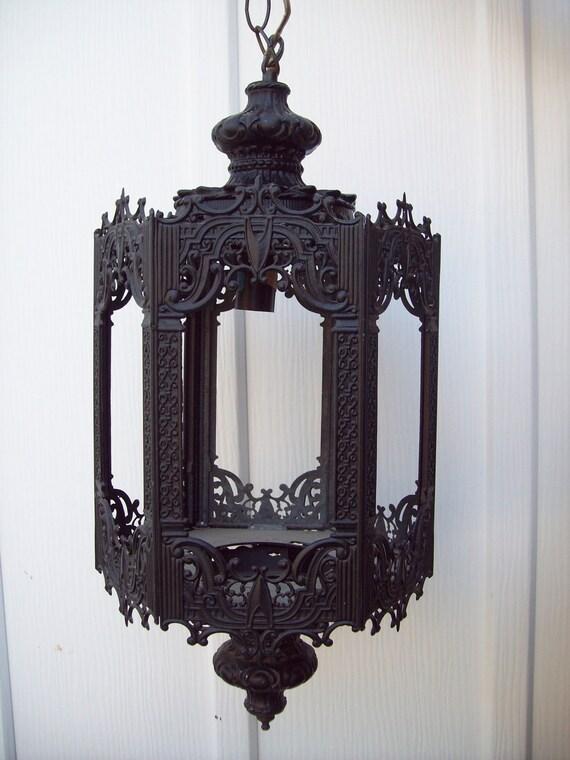 vintage victorian metal light fixture lantern swag lamp. Black Bedroom Furniture Sets. Home Design Ideas
