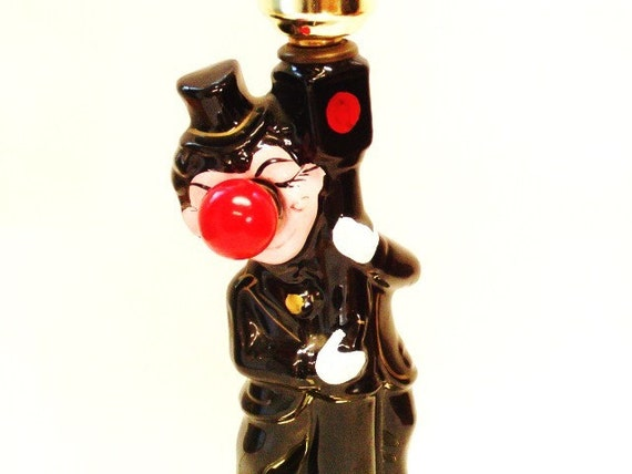 vintage BAR hobo CLOWN lamp Red Light nose FROM VEGAS unique lamp