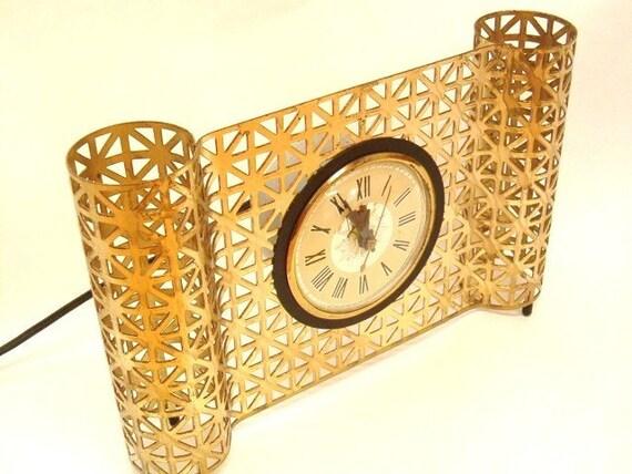 vintage MID century Art deco style clock 1950s CLOCK MOVEMENT BY LANSHIRE Chicago