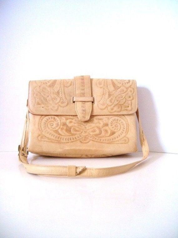vintage TOOLED AZTEC LEATHER purse