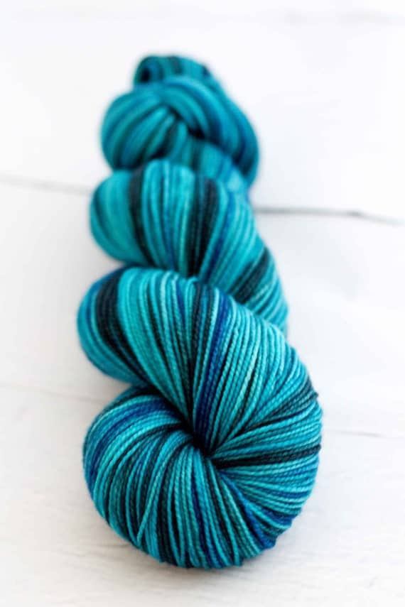 hand dyed Merino Nylon Sock Yarn 'colleen's summer storm'
