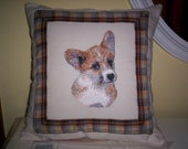 Embroidered Corgi Puppy Pillow