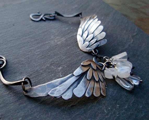 RESERVE for HEATHER!  silver wings bracelet: black bird singing in the dead of night