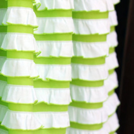 """Keylime and white stripe Cascading Ruffle Fabric - 32"""" inch END OF BOLT piece"""