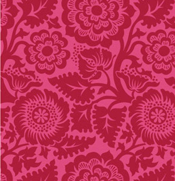End of Bolt Piece - Joel Dewberry - Heirloom - Blockade Blossom in Crimson- 6 inches
