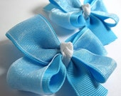 Cinderella Hair Bow, Princess, Blue and White - Set of 2