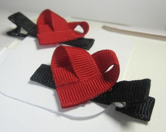 Sculpted Heart, Red and Black Ribbon Hair Clips - Set of two