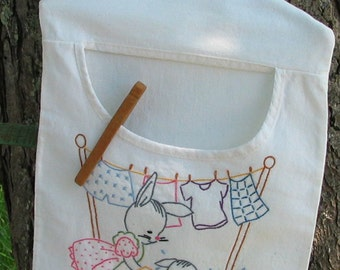 RESERVED For Zimmerman3 - Hand Embroidered Clothespin Bag