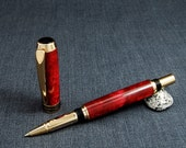 Tycoon Rollerball pen with Fiery-Red acrylic body and 24k Gold plated parts