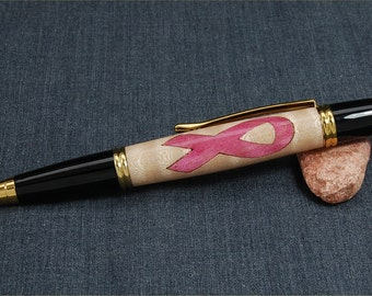 Gatsby click Ballpoin Pen Laser-Cut Cancer Awareness Ribbon and  Gold TN parts