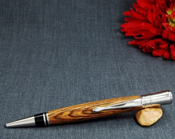 Executive Pen with Bocote wood body and Rhodium parts