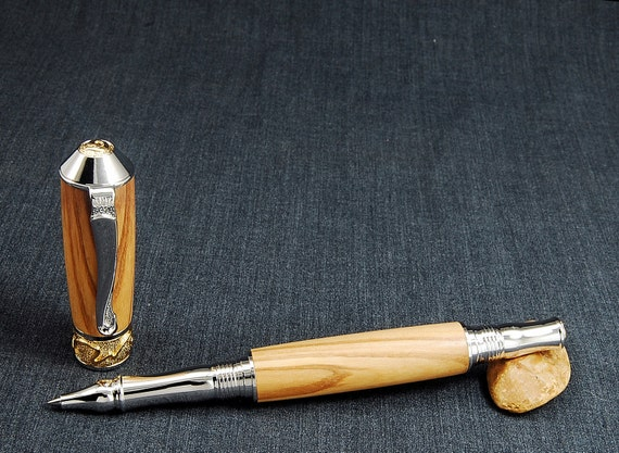 Artful Olivewood Nouveau Sceptre Rollerball with Rhodium and 22k Gold trim
