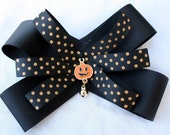 Black Pumpkin Hair Bow with Bell