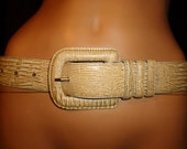 "SKIN Deep - Vintage 80's - Cipriani Lizard SKIN Grain Leather  - 1.5"" Wide -  Cinch Belt with a  Huge 3.5"" x 3"" Buckle - size medium"