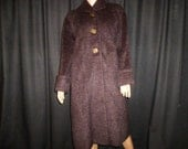 Dense COATing - Vintage 1950's - ALPACA and LLAMA - Maroon - Burgundy - Purple - Winter - COAT - Jacket - may fit a medium or Large woman