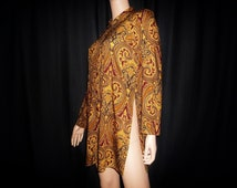 "Vintage 70's - Paisley - Novelty Print - Tunic - Top -High Slit Sides/ Back - Micro Mini - Dress - 38"" bust"