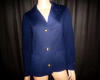 "Blaze ""n' BLUE - Vintage 50's - Button Front - Wool - BLUE BLAZER - by Butte Knit - 36"" bust"