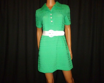 "Groovin in GREEN - Vintage 1960's - Mint Green - nylon - Ribbed Knit - Mod - Micro - Mini - Dress - 41"" bust size"